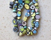 RESERVED for Annick, raku beads, kiln fired, mixed colors