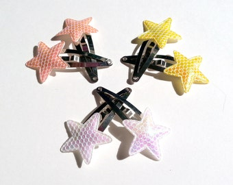 Pair of Iridescent Star Barrettes Choice of Colors - Yellow/Orange/White