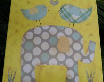 Elephant and Friends Yellow and Blue Mixed Media Whimsical & Unique OOAK Painting Folk Art Custom Girl Boy Nursery Children's Room Wall Art