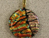 Dichroic Glass Pendant in Earthy Colors