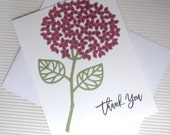 Thank you hydrangea card handmade stamped purple stationery greeting paper party supplies