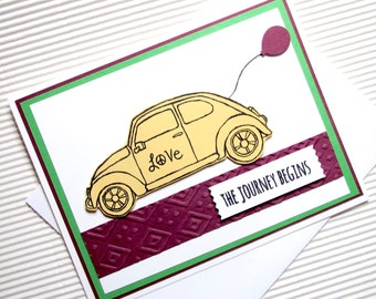 The journey begins Volkswagen card handmade stamped wedding bug beetle cute balloon purple green yellow greeting home living