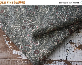 35% OFF CRAZY SALE- Gray Paisley Design-Reclaimed Bed Linen Fabric