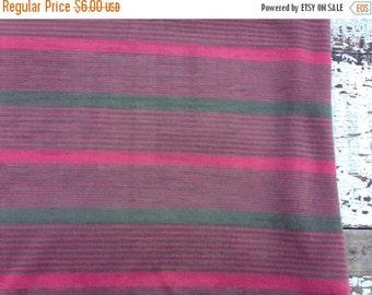 30% OFF SUPER SALE- Vintage Jersey Knit-Pink and Green Stripes-