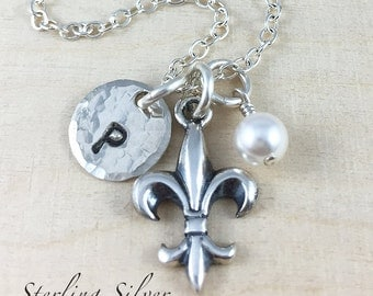 Sterling Silver Fleur De Lis Charm Necklace, Personalized With Initial Charm and Birthstone, Fleur De Lis Necklace, Fleur De Lis Gift