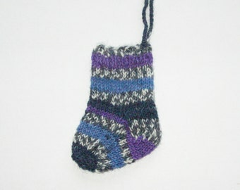 Mini Stocking Ornament in Navy Blue and Purple Hand Knit