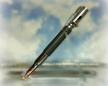 Faux Gray Leather 30 Cal Bolt Action Pen-Polymer Clay Pen-Steampunk Pen-.30 Caliber Bullet-Parker Refill Pen-Bolt Action Rifle Pen-Ballpoint
