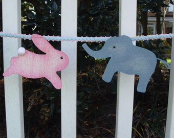 Banner, Bunting, Baby, Child, Elephant, Rabbit, Pink & Blue