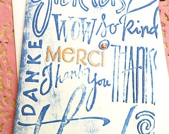 "Blue Multi - Lingual Thank You Note Card, Merci, Danke, Thanks, Gracias, Appreciation, Gratitude, Friend, Kindness, Caring, Host - 4"" x 5.5"""