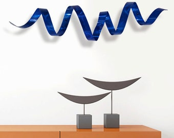 Blue Metal Wall Sculpture, Modern Metal Wall Art, Home Decor, Contemporary Metal Accent - Blue Wall Twist by Jon Allen
