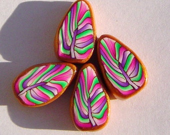 Purple Pink Gold Leaf Handmade Artisan Polymer Clay Beads