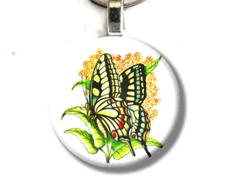 Art Button Pendant Keychain Butterfly vintage nature art charm button swivel lobster hook unique finds 2