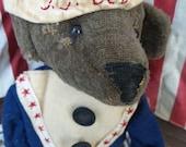 VERY Primitive, Folk Art, TeamHAHA, Hafair, OOAK, Sailor, Captain, Bear, Doll by Mustard Seed Originals