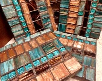 Handmade Mosaic Coasters turquoise JEWEL Rich chocolate browns colors metallic italian glass tile