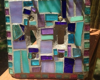 Beautiful Purples and Turquoise Stained glass Key West Mosaic ART light switch cover