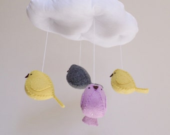 Baby Nursery mobile,  1 cloud and 4 birds, mustard yellow, lilac, grey, gender  neutral