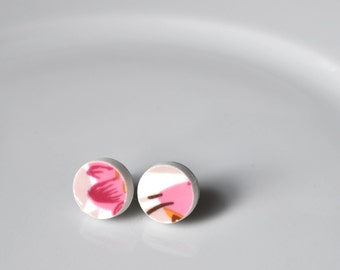 Simple Circle Broken China Stud Earrings - Pink and White