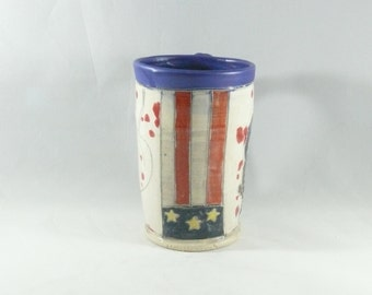 Made in America Patriotic Cup with American Flag + Eagle, military pottery mug  Pottery Coffee Mug,  Coffee cup, teacup, beer stein  378