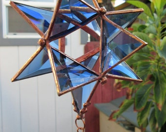 Star, 12 Pointed, 3-Dimensional Light Blue Beveled Stained Glass, Suncatcher