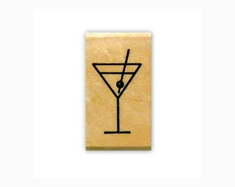 Martini Glass, lg. mounted rubber stamp, party, New Years Eve, No.2