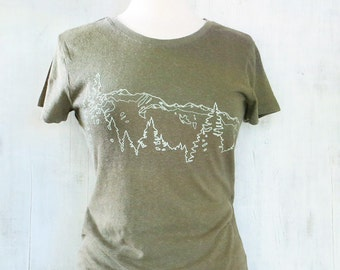 Womens Hemp Organic Cotton T-shirt with Mountain Ridge - Army Green