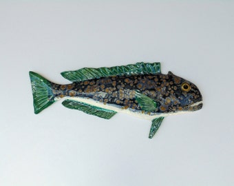 Tiefish ceramic fish art decorative wll hanging