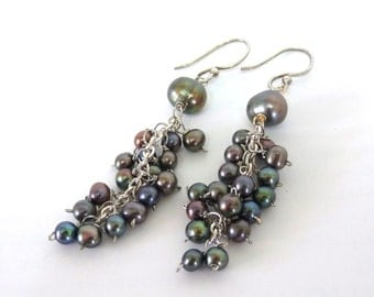 Tahitian Peacock Freshwater Pearl Wire Wrapped Dangle Earrings Black Pearl Jewelry