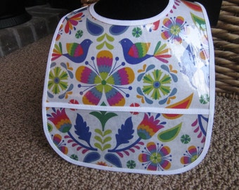 WATERPROOF WIPEABLE Baby to Toddler Plastic Coated Bib Bright Colors Flowers and Birds