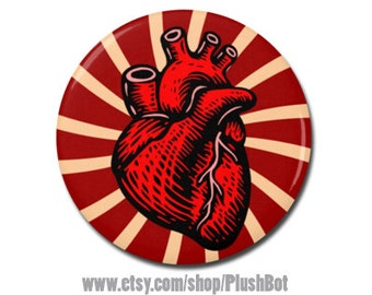 "Anatomical Heart 1.25"" or 2.25"" Refrigerator Fridge Magnet Human Anatomy Creepy Valentine Gift"