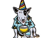 Spuds Mackenzie vintage style Enamel Pin- 80s Bull Terrier Dog Lapel Pin