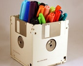 Floppy Disk Pen and Pencil Holder (White)