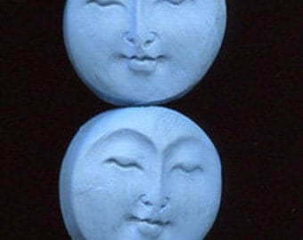 6 Medium  Blue Faux Bone Polymer  Moon Beads Top Drilled MBLM 1