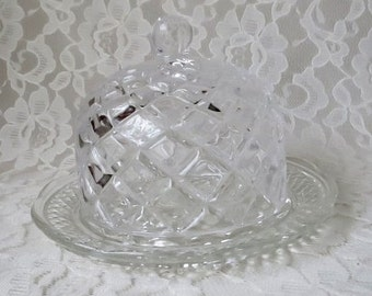 Vintage Round Clear Pressed Glass Butter Dish, Cheese Server with Dome Lid