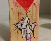 Cat with Heart Balloon Rubber Stamp