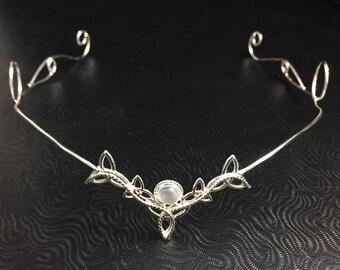 Celtic Irish Tiara, Bohemian Celtic Wedding Circlet, Bridal Circlet in Sterling Silver with Gemstone, Irish Art Nouveau Renaissance Circlet
