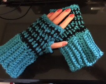 Carolina Panthers  Fingerless Gloves or Arm Warmers Crochet  reday to ship rrduced