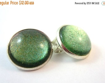 25% SALE Green Clip On Earrings, Silver Setting, 18mm, Stocking Stuffer, Under 20,