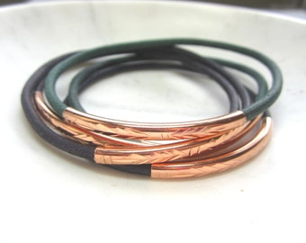 Leather Bangle Set.  Green, Blue, Purple Leather Bangles. Pink Gold Engraved Tube Beads. Set of 5.