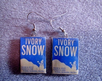 Ivory Snow Snowman Retro Laundry Detergent Basket Dangle Polymer Clay Junk Food Earrings Hypo Allergenic Nickle-Free