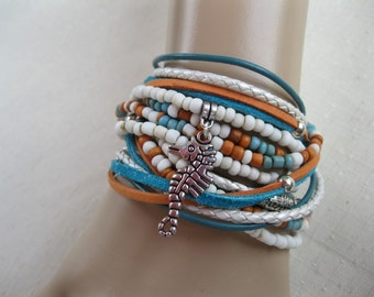 Lovely Boho Leather and Bead Wrap Bracelet or Necklace, Multi Strands of Leather in shades of teal, white and with multi color beads