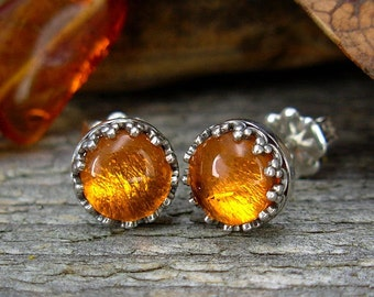 Amber  Earrings - Sterling Silver Post Earrings - Amber Studs