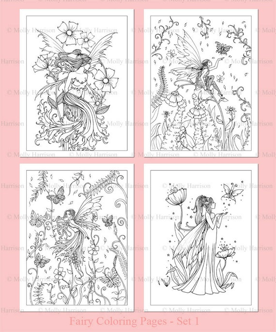 PRINTABLE - Flower Fairies Coloring Pages Set 1 - 4 Flower Fairy Illustrations - Adult Coloring Pages - Molly Harrison Fairy, Faery