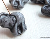 Czech Elephant Beads  Czech Glass Beads  Grey Picasso