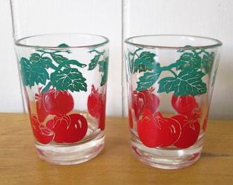2 vintage tomato juice glasses