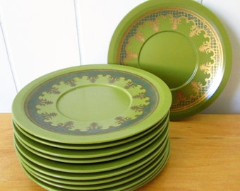 12 vintage metallic olive green melmac saucers