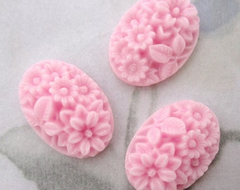 8 pcs. pink resin flower floral relief cameo cabochon 18x13mm - f5064