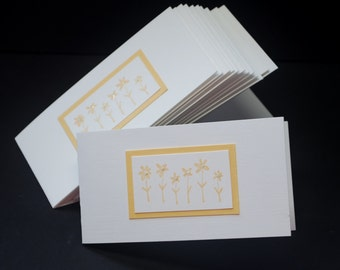 Spring Floral in Apricot, mini notes, set of 12 mini cards, hand stamped, glitter bling, get well, thinking of you, friendship, snail mail