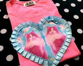 Bubblegum Pink Kittens Digital Print Heart Applique T Shirt S/M