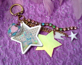 Pastel Fantasy Castle and Rhinestones Laser Cut Charms Purse Candy