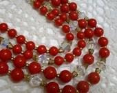 Vintage Red 4 Strand Plastic & Crystal Necklace 1950s